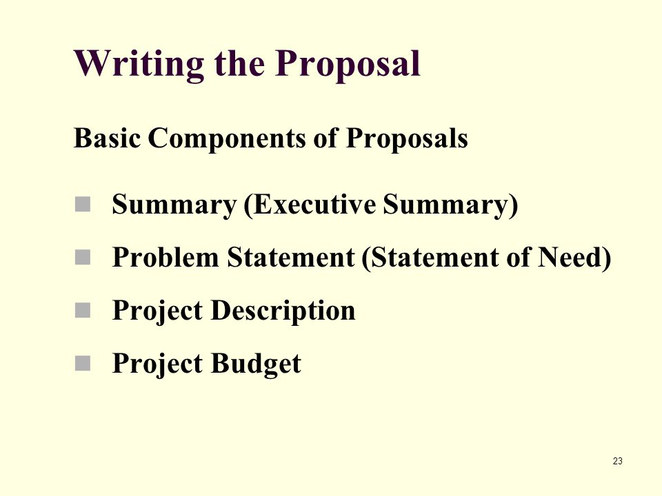 23 Writing the Proposal Basic Components of Proposals Summary (Executive Summary) Problem Statement (Statement of Need) Project Description Project Budget