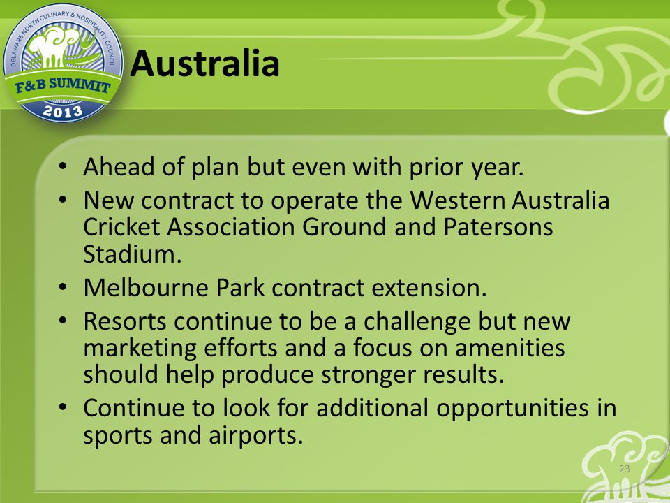 Australia Ahead of plan but even with prior year.
