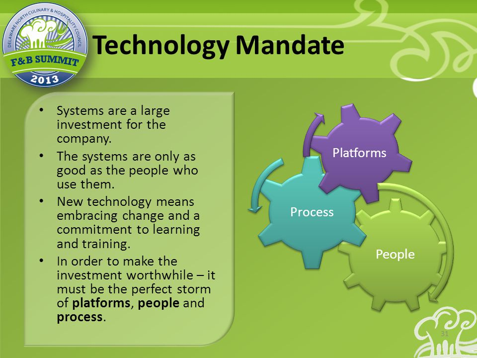 Technology Mandate Systems are a large investment for the company.