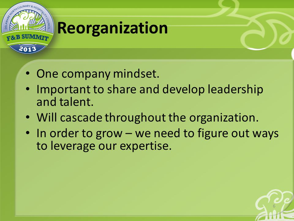 Reorganization One company mindset. Important to share and develop leadership and talent.