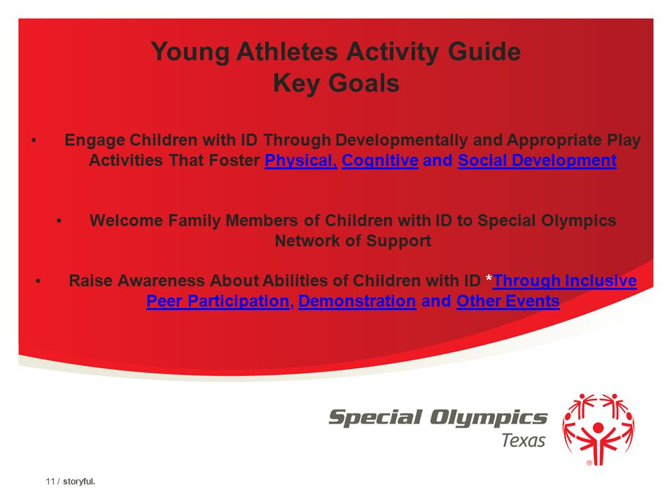 10 / storyful. Special Olympics TX Support and Resources YAP Activity Guide ( What Coach) Outlines specific activities for skill building with Instruc