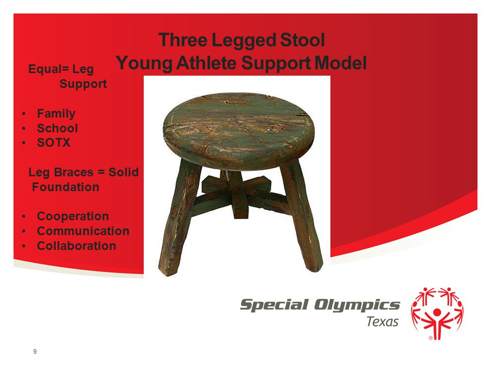 Family Support Network Developed as a result of families seeking to involve their young children in Special Olympics (3 Legged Stool Example) Introduc
