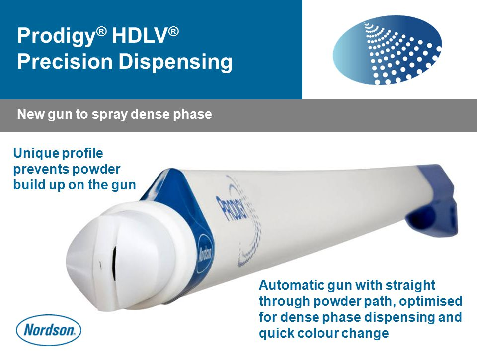 Prodigy ® HDLV ® Precision Dispensing Unique profile prevents powder build up on the gun New gun to spray dense phase Automatic gun with straight thro