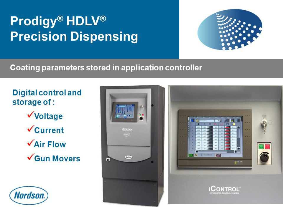 Coating parameters stored in application controller Digital control and storage of : Voltage Current Air Flow Gun Movers Prodigy ® HDLV ® Precision Di