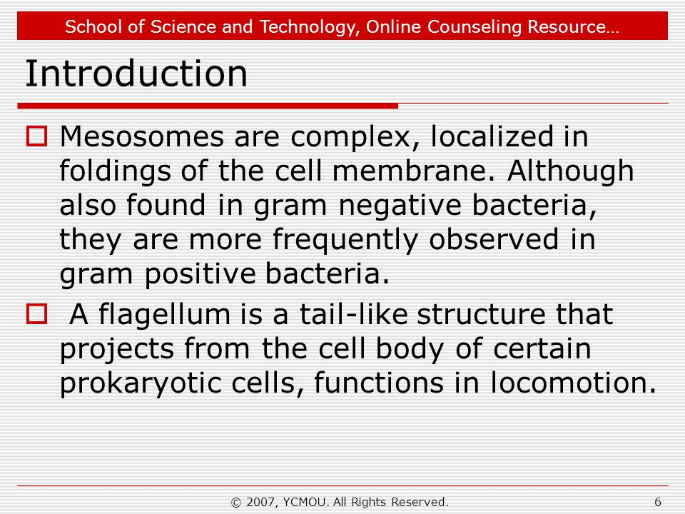 School of Science and Technology, Online Counseling Resource… Introduction  Mesosomes are complex, localized in foldings of the cell memb­rane.