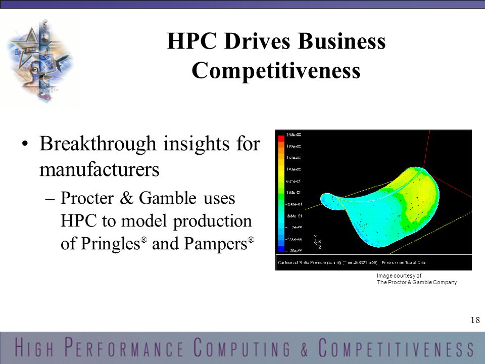 18 HPC Drives Business Competitiveness Breakthrough insights for manufacturers –Procter & Gamble uses HPC to model production of Pringles ® and Pampers ® Image courtesy of The Proctor & Gamble Company