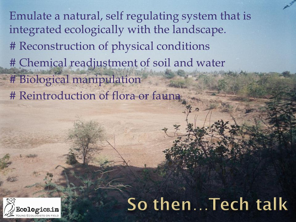 Emulate a natural, self regulating system that is integrated ecologically with the landscape. # Reconstruction of physical conditions # Chemical readj