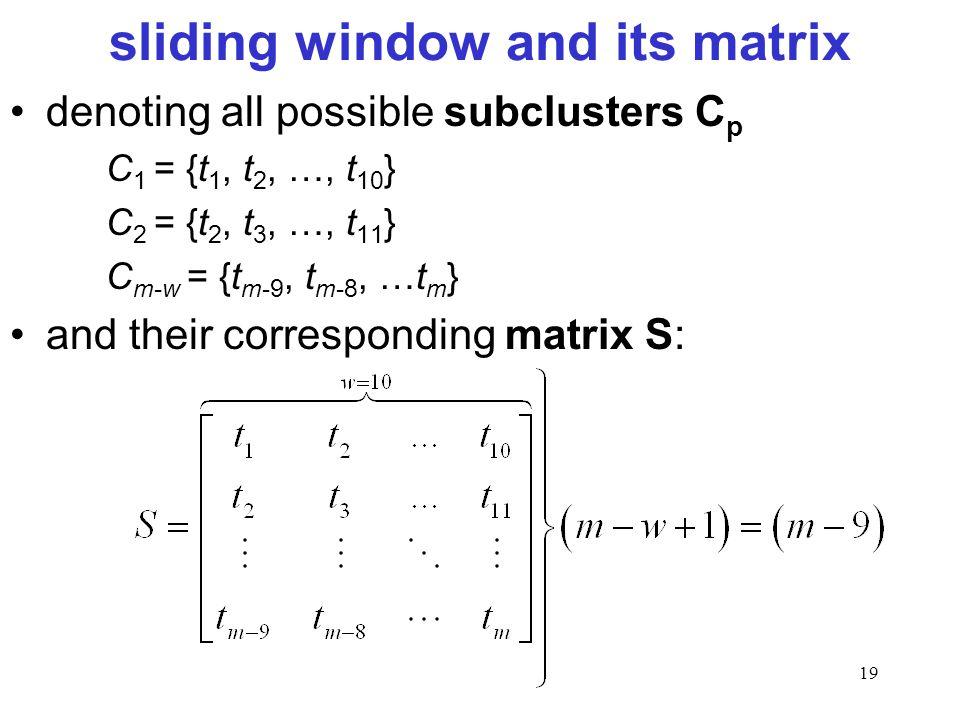 19 sliding window and its matrix denoting all possible subclusters C p C 1 = {t 1, t 2, …, t 10 } C 2 = {t 2, t 3, …, t 11 } C m-w = {t m-9, t m-8, …t