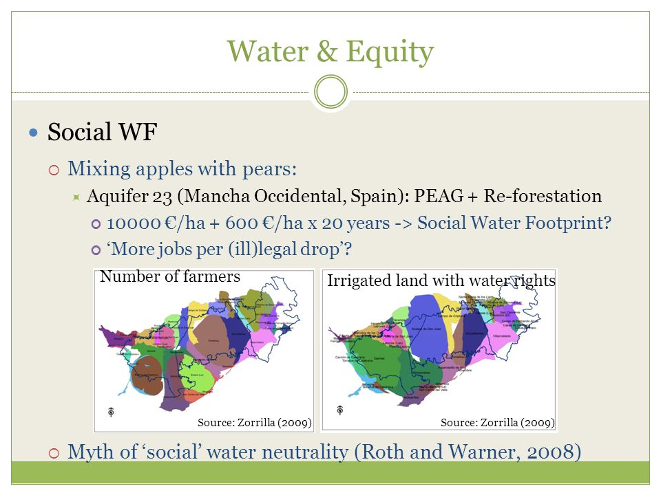 Water & Equity Social WF  Mixing apples with pears:  Aquifer 23 (Mancha Occidental, Spain): PEAG + Re-forestation 10000 €/ha + 600 €/ha x 20 years -> Social Water Footprint.