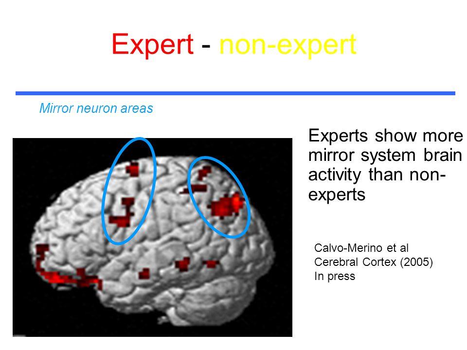 Expert - non-expert Experts show more mirror system brain activity than non- experts Mirror neuron areas Calvo-Merino et al Cerebral Cortex (2005) In press