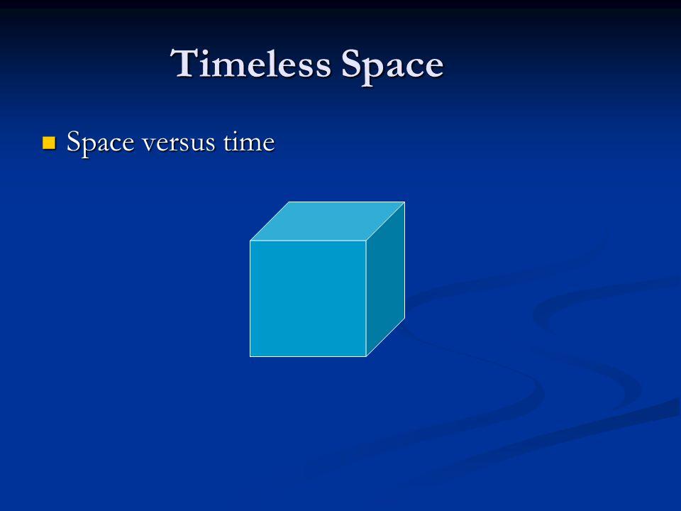 Timeless Space Space versus time Space versus time
