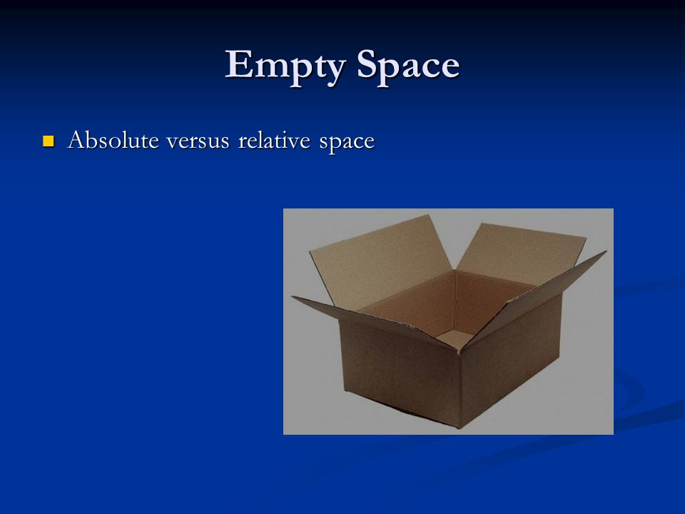 Empty Space Absolute versus relative space Absolute versus relative space
