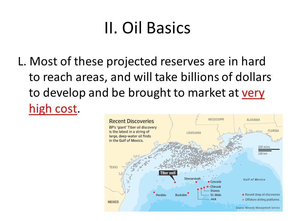 II. Oil Basics L. Most of these projected reserves are in hard to reach areas, and will take billions of dollars to develop and be brought to market a