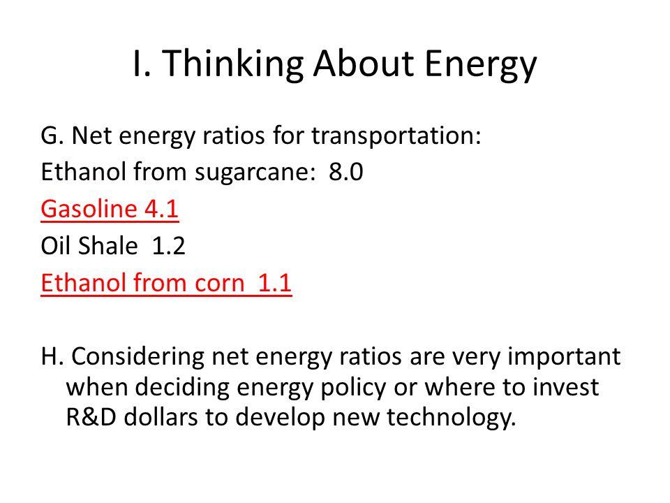 I.Thinking About Energy G.