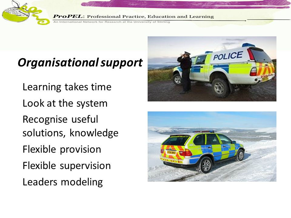 Organisational support Learning takes time Look at the system Recognise useful solutions, knowledge Flexible provision Flexible supervision Leaders modeling