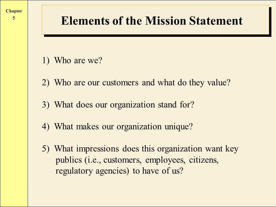 Chapter 5 Elements of the Mission Statement 1) Who are we.