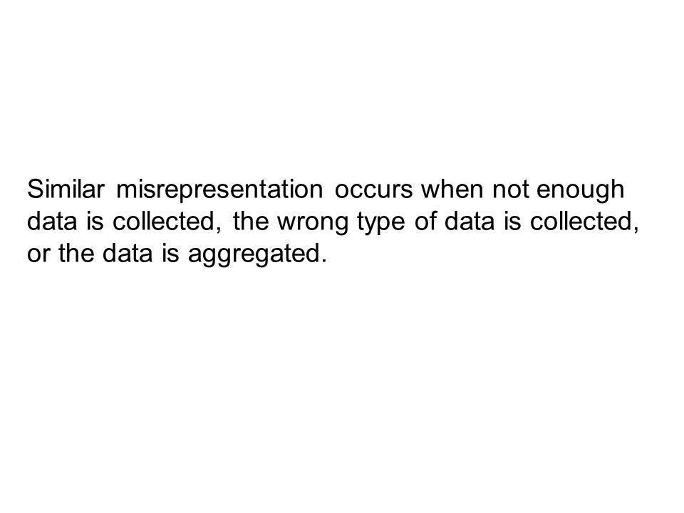 Similar misrepresentation occurs when not enough data is collected, the wrong type of data is collected, or the data is aggregated.