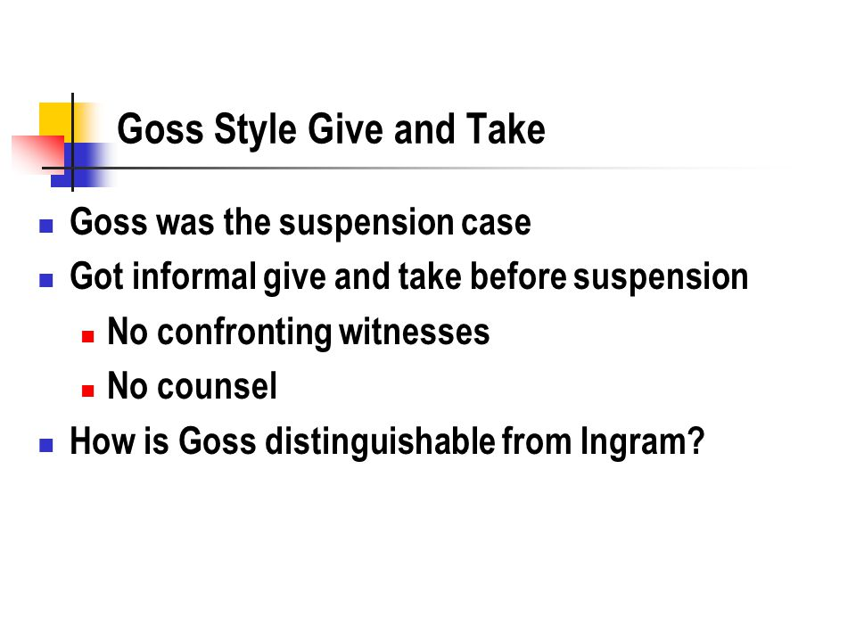 Goss Style Give and Take Goss was the suspension case Got informal give and take before suspension No confronting witnesses No counsel How is Goss distinguishable from Ingram