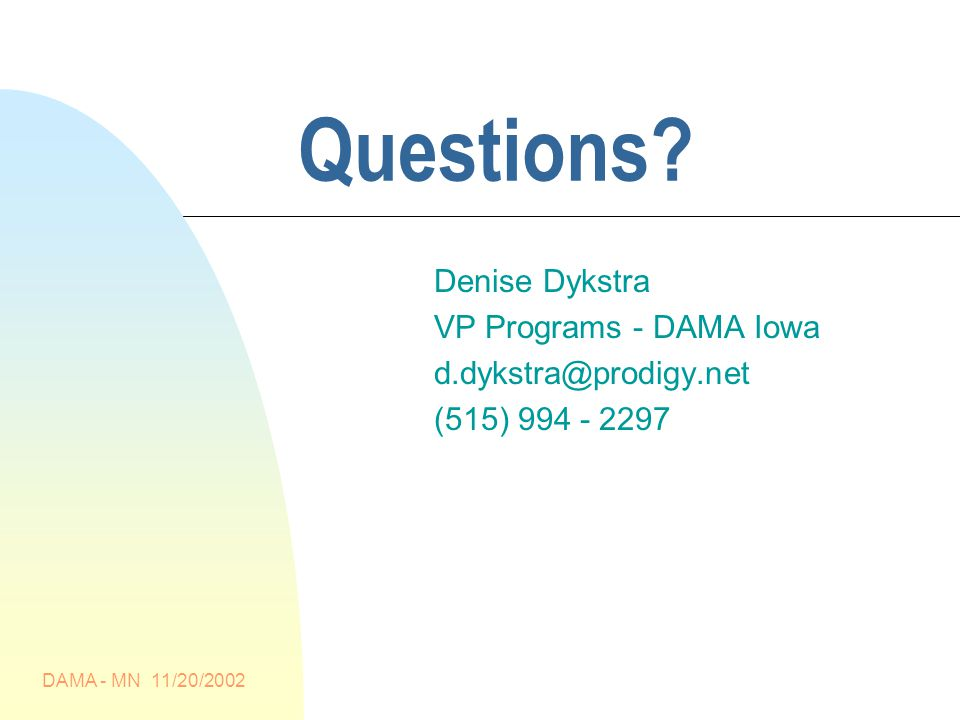 DAMA - MN 11/20/2002 Questions.