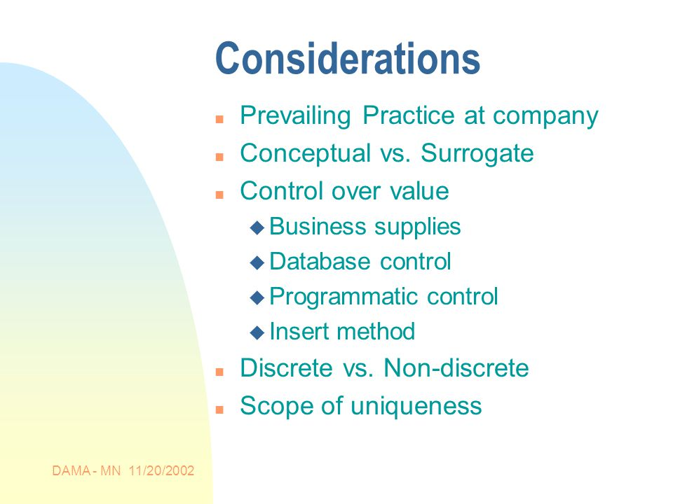 DAMA - MN 11/20/2002 Considerations n Prevailing Practice at company n Conceptual vs.