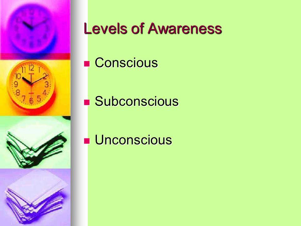 Levels of Awareness Conscious Conscious Subconscious Subconscious Unconscious Unconscious