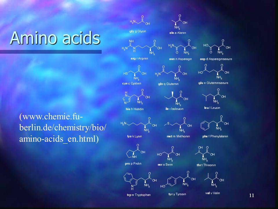 11 Amino acids (www.chemie.fu- berlin.de/chemistry/bio/ amino-acids_en.html)