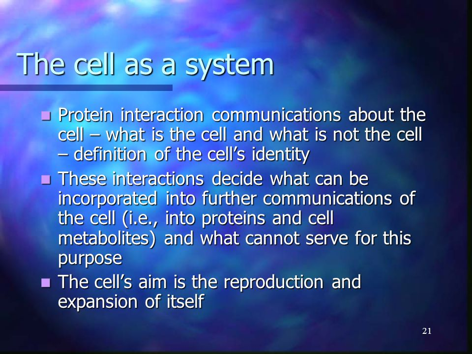 21 The cell as a system Protein interaction communications about the cell – what is the cell and what is not the cell – definition of the cell's ident