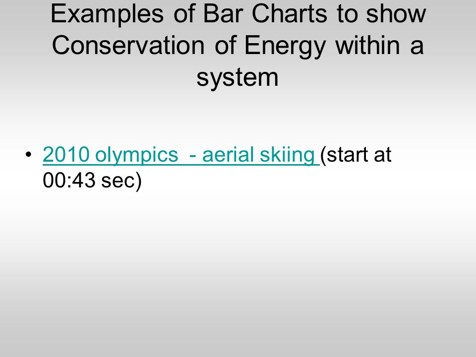 Examples of Bar Charts to show Conservation of Energy within a system 2010 olympics - aerial skiing (start at 00:43 sec)2010 olympics - aerial skiing