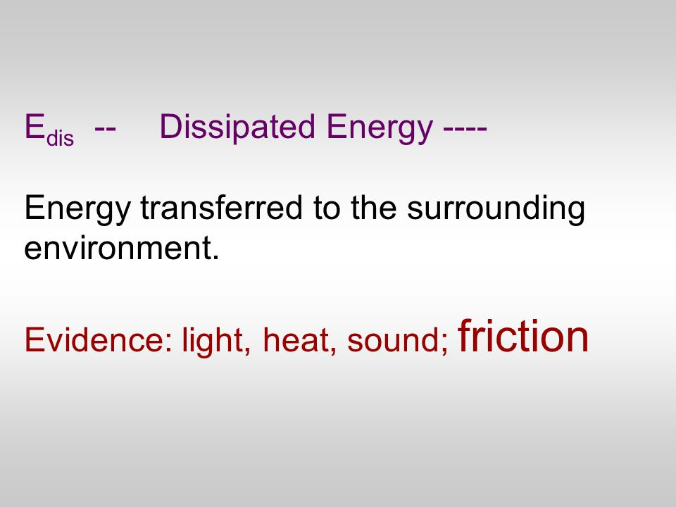 E dis --Dissipated Energy ---- Energy transferred to the surrounding environment.