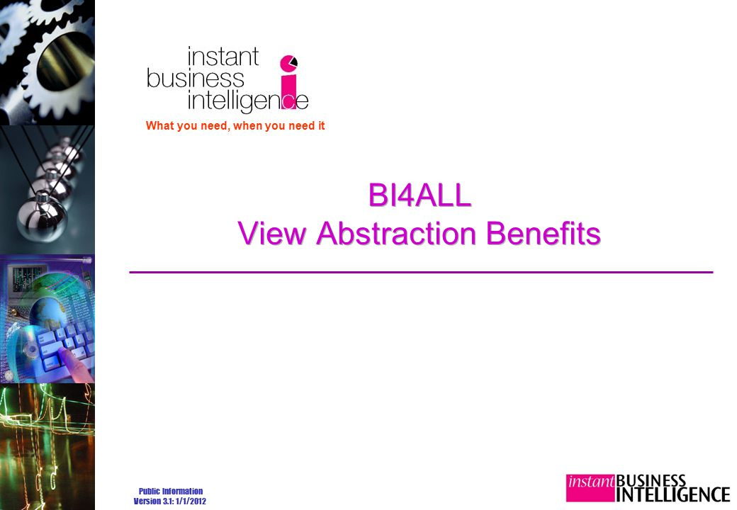 Public Information Version 3.1: 1/1/2012 BI4ALL View Abstraction Benefits What you need, when you need it
