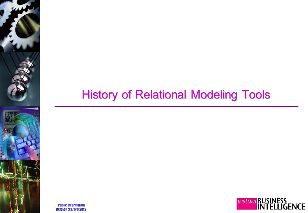 Public Information Version 3.1: 1/1/2012 History of Relational Modeling Tools