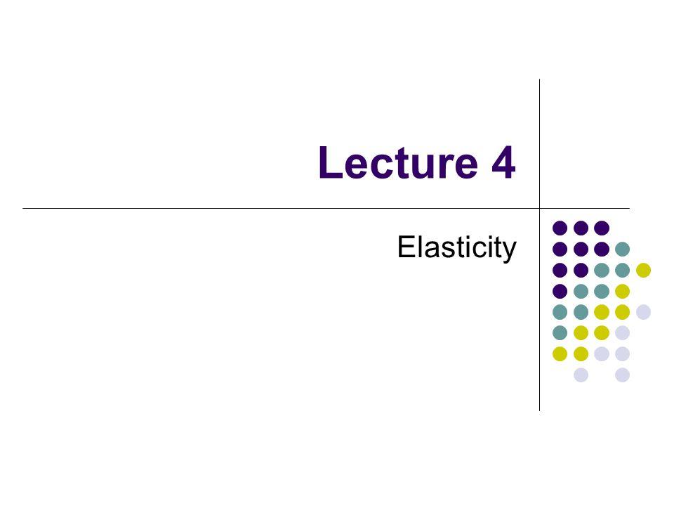 Lecture 4 Elasticity