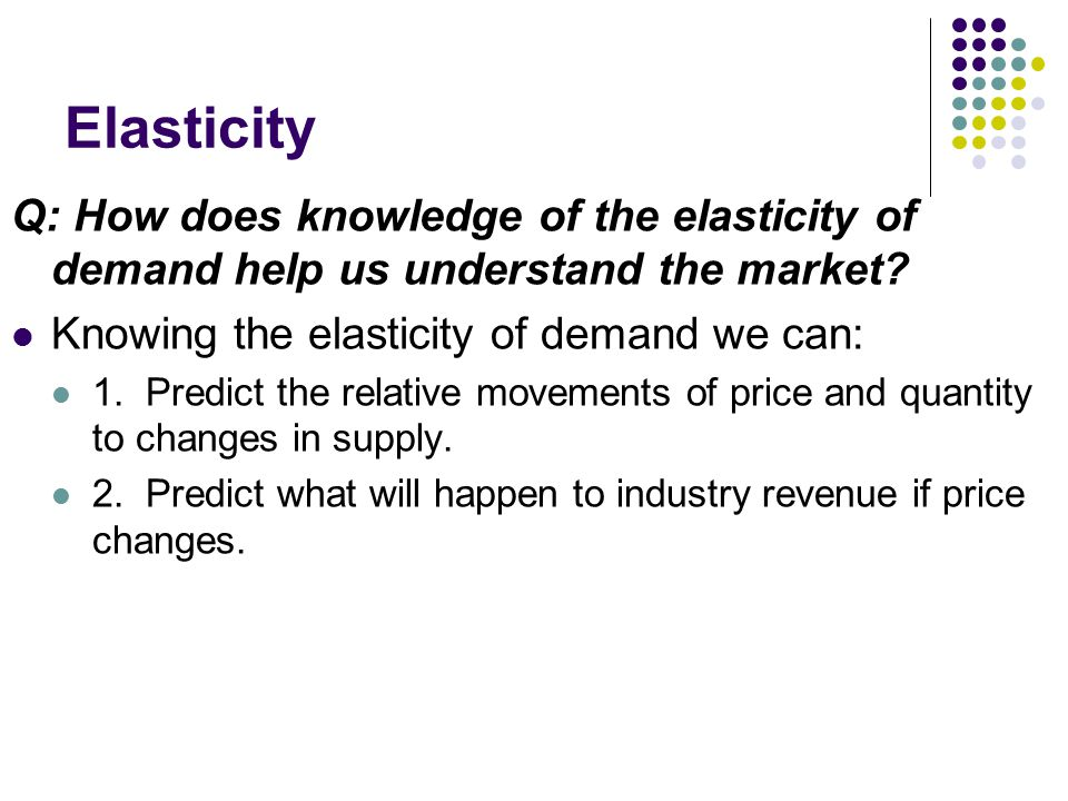 Elasticity Q: How does knowledge of the elasticity of demand help us understand the market.