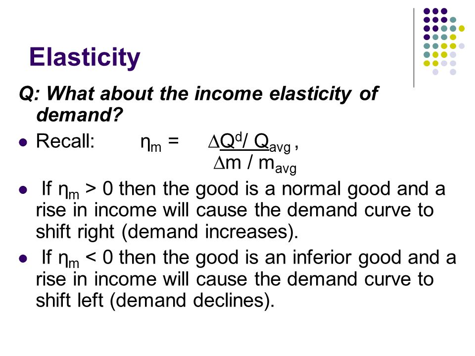 Elasticity Q: What about the income elasticity of demand? Recall: η m = ∆Q d / Q avg, ∆m / m avg If η m > 0 then the good is a normal good and a rise