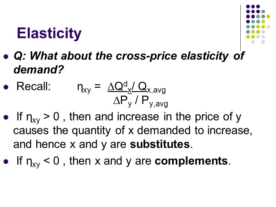Elasticity Q: What about the cross-price elasticity of demand.