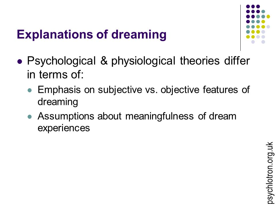 Explanations of dreaming Psychological & physiological theories differ in terms of: Emphasis on subjective vs. objective features of dreaming Assumpti