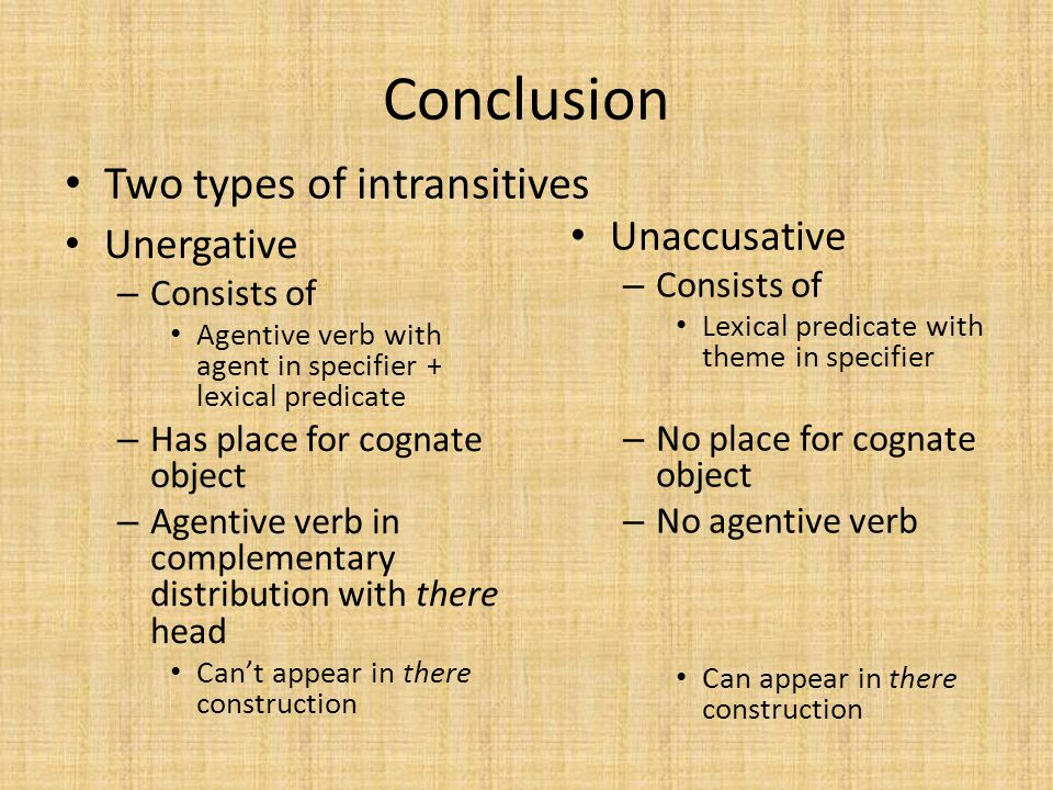 Conclusion Two types of intransitives Unergative – Consists of Agentive verb with agent in specifier + lexical predicate – Has place for cognate objec