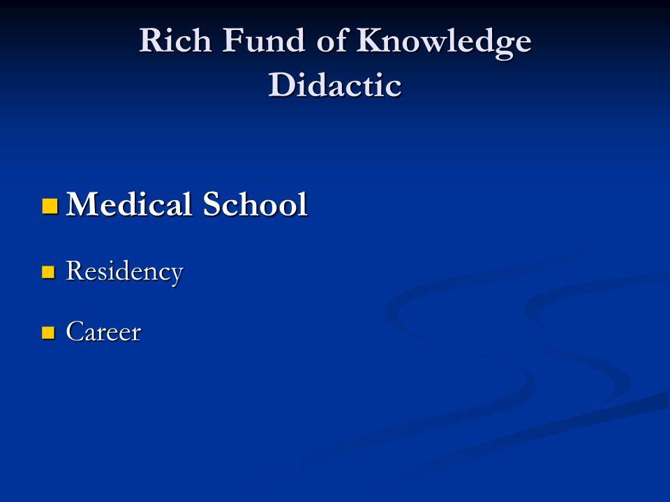 Sparse Knowledge Experience Medical School Medical School Residency Residency Entire Career Entire Career
