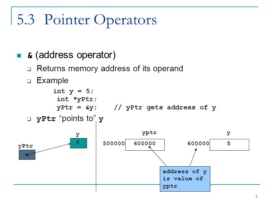 5 5.3Pointer Operators & (address operator)  Returns memory address of its operand  Example int y = 5; int *yPtr; yPtr = &y; // yPtr gets address of y  yPtr points to y yPtr y 5 yptr 500000600000 y 5 address of y is value of yptr