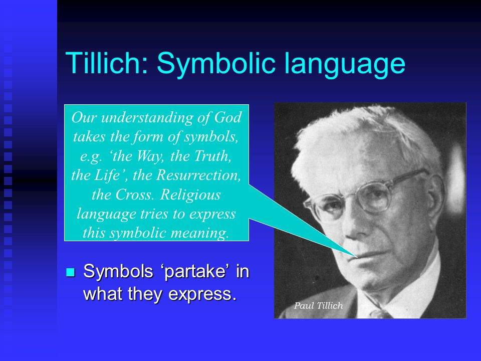 Tillich: Symbolic language Symbols 'partake' in what they express.