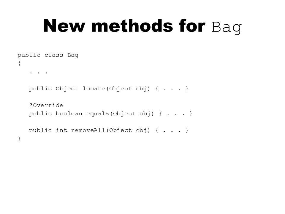public class Bag {... public Object locate(Object obj) {...