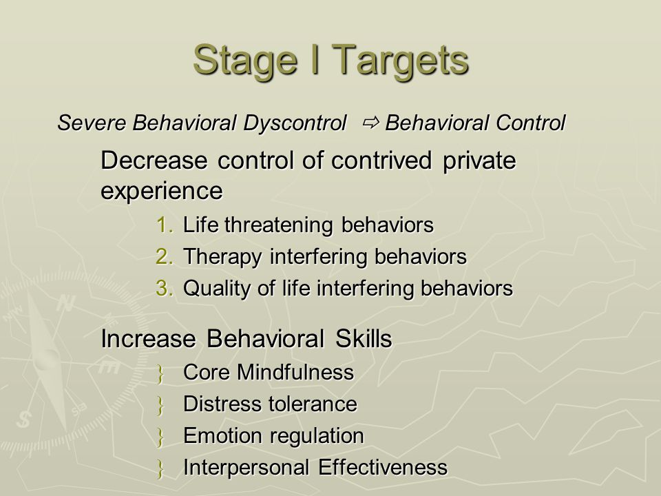 Stage I Targets Severe Behavioral Dyscontrol  Behavioral Control Decrease control of contrived private experience 1.Life threatening behaviors 2.Ther