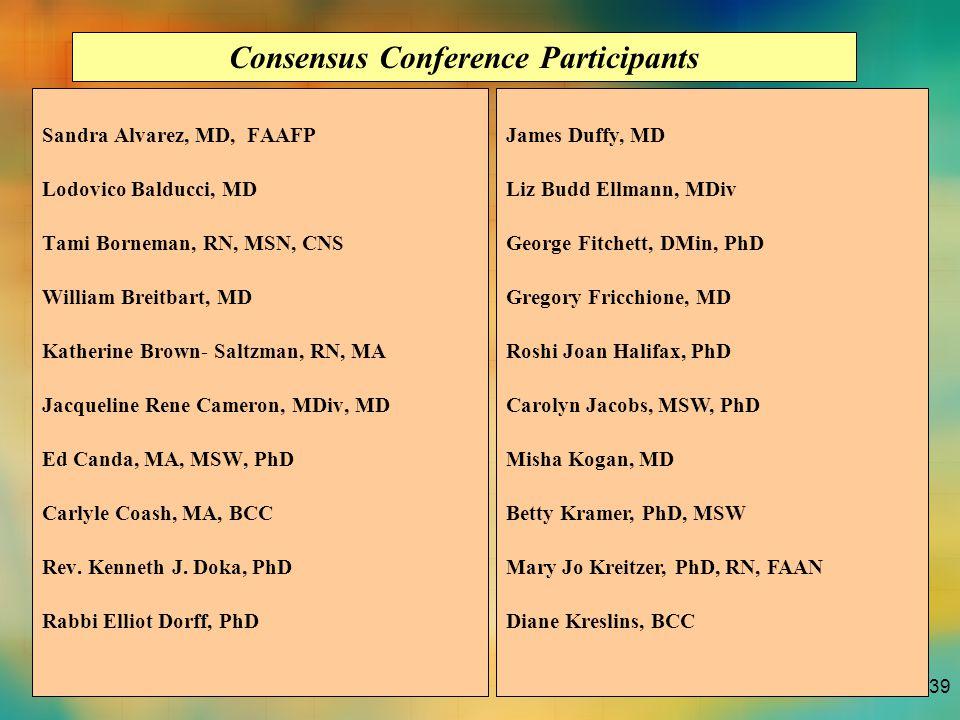 39 Sandra Alvarez, MD, FAAFP Lodovico Balducci, MD Tami Borneman, RN, MSN, CNS William Breitbart, MD Katherine Brown- Saltzman, RN, MA Jacqueline Rene