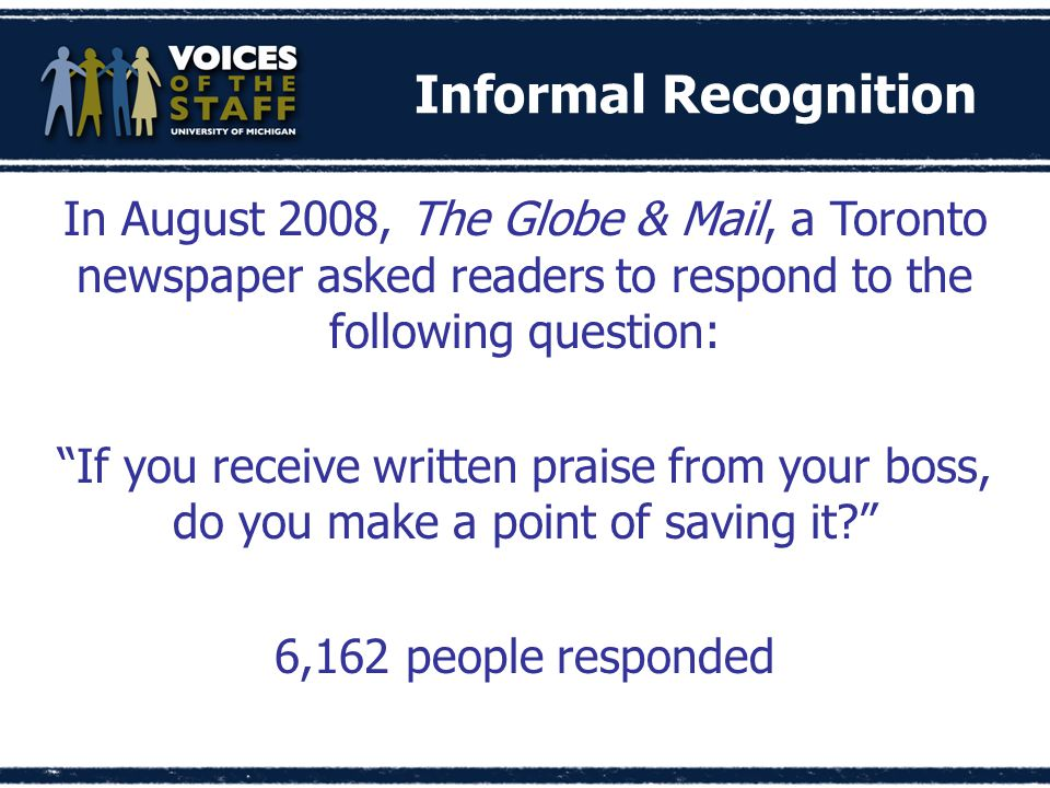 In August 2008, The Globe & Mail, a Toronto newspaper asked readers to respond to the following question: If you receive written praise from your boss, do you make a point of saving it 6,162 people responded