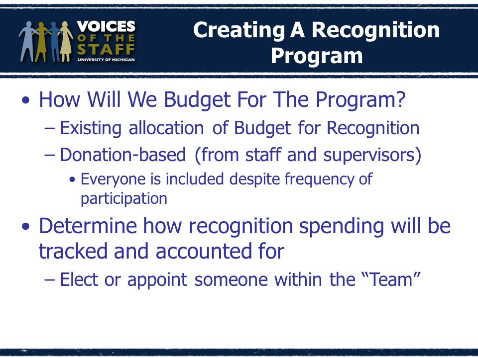 How Will We Budget For The Program.