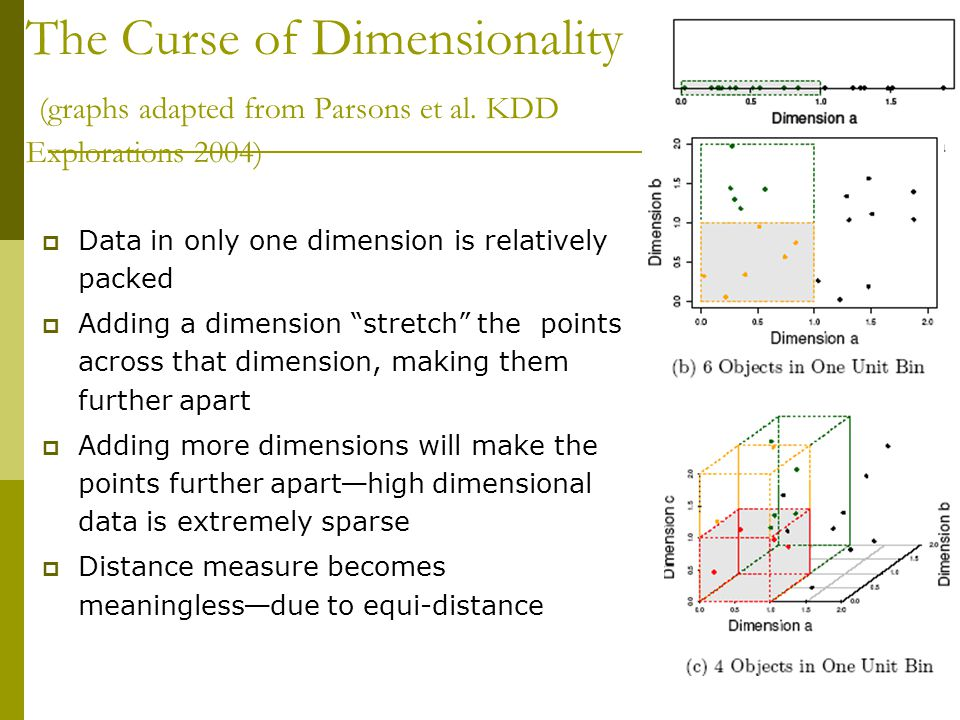 The Curse of Dimensionality (graphs adapted from Parsons et al.