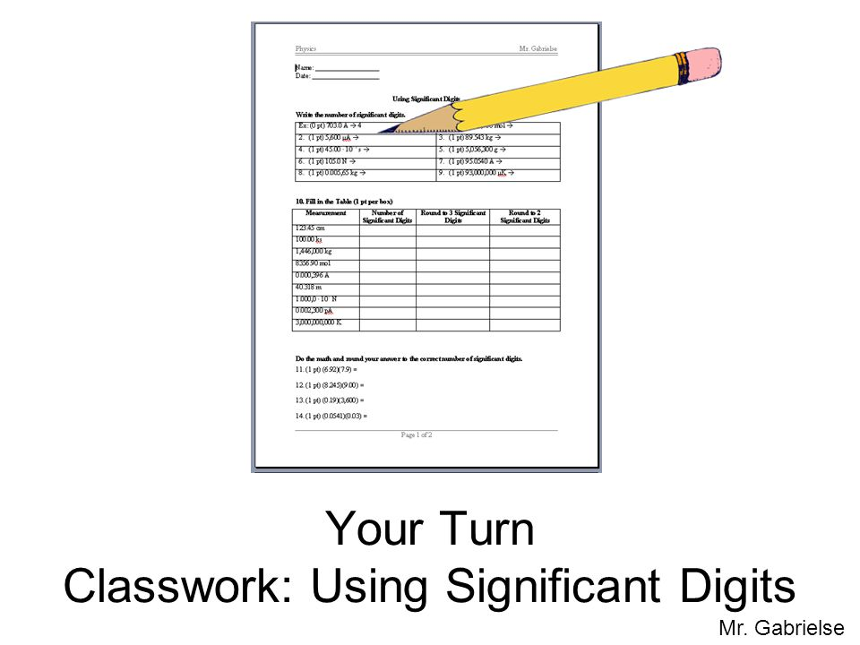 Mr. Gabrielse Your Turn Classwork: Using Significant Digits