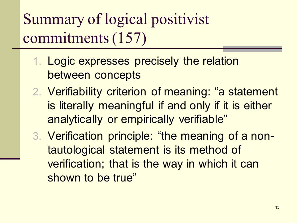 15 Summary of logical positivist commitments (157) 1.