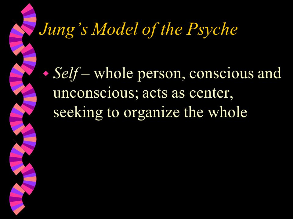 Jung's Model of the Psyche w Self – whole person, conscious and unconscious; acts as center, seeking to organize the whole