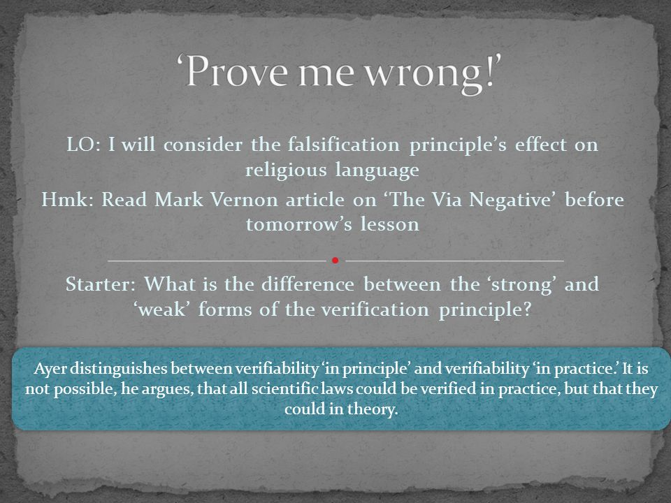 LO: I will consider the falsification principle's effect on religious language Hmk: Read Mark Vernon article on 'The Via Negative' before tomorrow's l